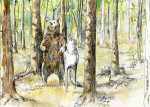 bear and wolf card © sally rendel